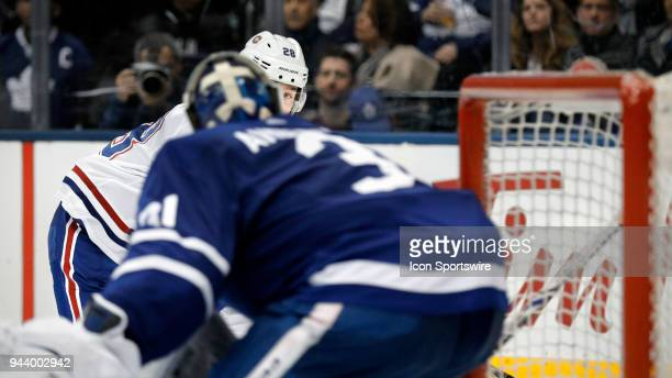 Montreal Canadiens Defenceman Mike Reilly goes eye to eye with Toronto Maple Leafs Goalie Frederik Andersen during the final NHL 2018 regularseason...