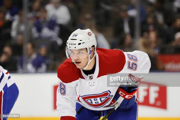 Montreal Canadiens Defenceman Noah Juulsen during the final NHL 2018 regularseason game between the Montreal Canadiens and the Toronto Maple Leafs on...