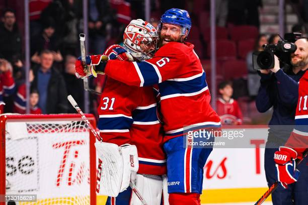 Montreal Canadiens defenceman Shea Weber puts his arms around Montreal Canadiens goalie Carey Price after the win celebrating the fact Montreal...
