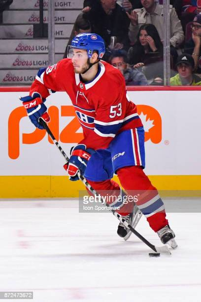 Montreal Canadiens Defenceman Victor Mete gains control of the puck during the Las Vegas Golden Knights versus the Montreal Canadiens game on...