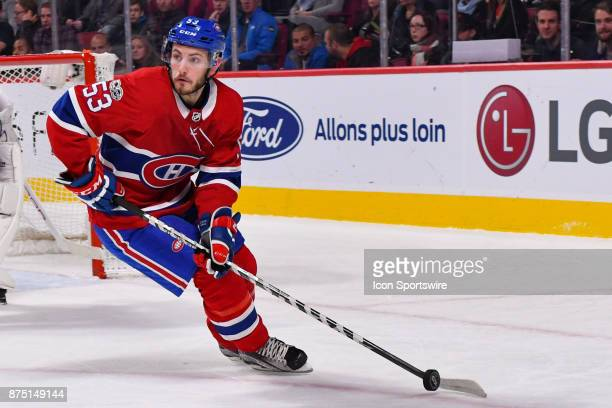 Montreal Canadiens Defenceman Victor Mete gains control of the puck during the Arizona Coyotes versus the Montreal Canadiens game on November 16 at...
