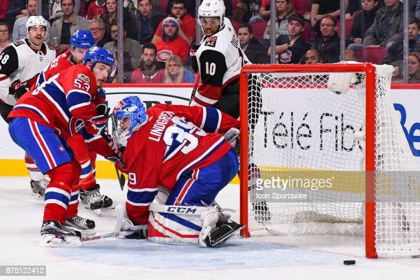 Montreal Canadiens Defenceman Victor Mete looks at a dangerous free puck behind Montreal Canadiens Goalie Charlie Lindgren during the Arizona Coyotes...