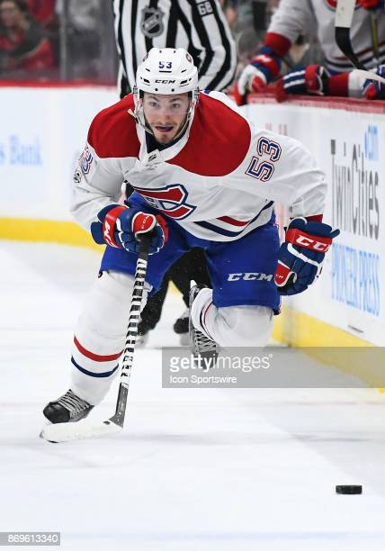 Montreal Canadiens Defenceman Victor Mete skates the puck up ice during a NHL game between the Minnesota Wild and Montreal Canadians on November 2...