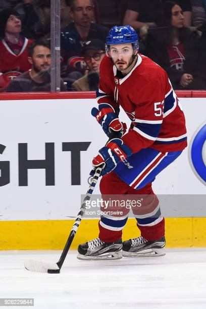 Montreal Canadiens Defenceman Victor Mete skates with the puck during the New York Islanders versus the Montreal Canadiens game on February 28 at...