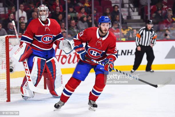 Montreal Canadiens Defenceman Victor Mete tracks the play while standing in front of Montreal Canadiens Goalie Carey Price during the Nashville...
