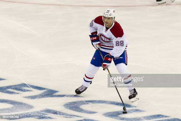 Montreal Canadiens defenseman Brandon Davidson works out of the Canadiens zone during the first period of game 3 of the first round of the 2017...