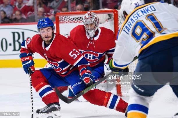 Montreal Canadiens defenseman Victor Mete blocks a shot from St Louis Blues right wing Vladimir Tarasenko during the third period of the NHL game...