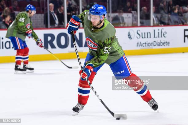 Montreal Canadiens defenseman Victor Mete shoots on net during the warmup of the NHL game between the Buffalo Sabres and the Montreal Canadiens on...