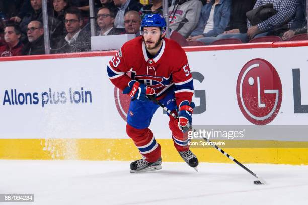 Montreal Canadiens defenseman Victor Mete skates with the puck during the first period of the NHL game between the StLouis Blues and the Montreal...