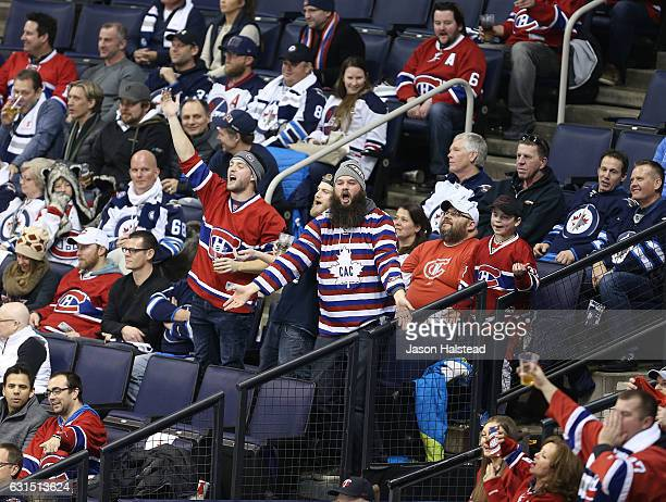 Montreal Canadiens fans taunt Winnipeg Jets fans during NHL action on January 11 2017 at the MTS Centre in Winnipeg Manitoba
