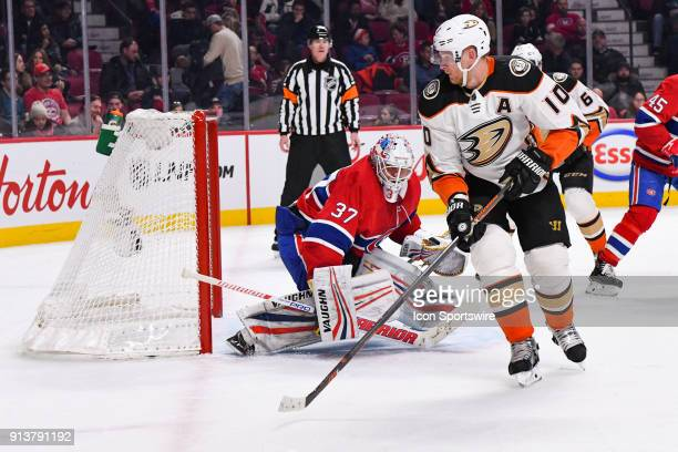 Montreal Canadiens Goalie Antti Niemi and Anaheim Ducks Right Wing Corey Perry track the puck during the Anaheim Ducks versus the Montreal Canadiens...
