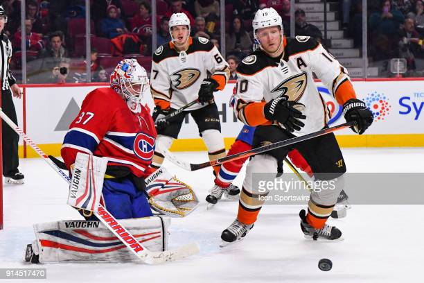 Montreal Canadiens Goalie Antti Niemi stops the puck during the Anaheim Ducks versus the Montreal Canadiens game on February 3 at Bell Centre in...