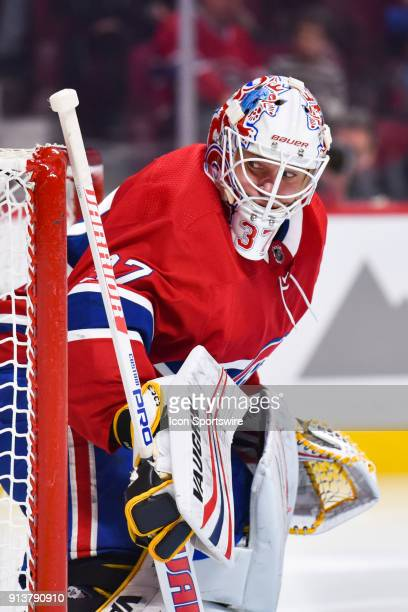 Montreal Canadiens Goalie Antti Niemi tracks the play beside him during the Anaheim Ducks versus the Montreal Canadiens game on February 3 at Bell...