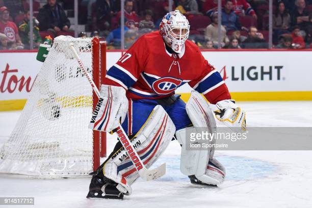 Montreal Canadiens Goalie Antti Niemi tracks the play facing him during the Anaheim Ducks versus the Montreal Canadiens game on February 3 at Bell...