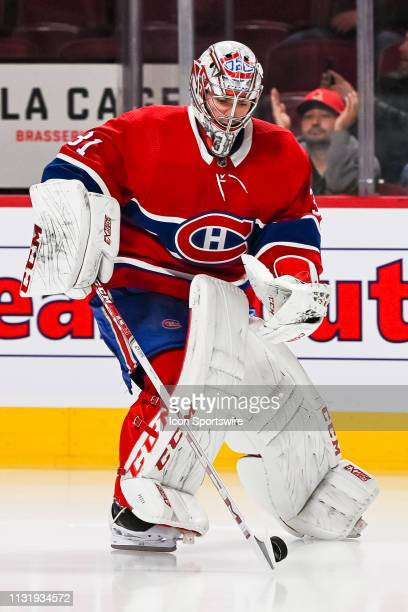 Montreal Canadiens goalie Carey Price gets control of a puck at warmup before the New York Islanders versus the Montreal Canadiens game on March 21...