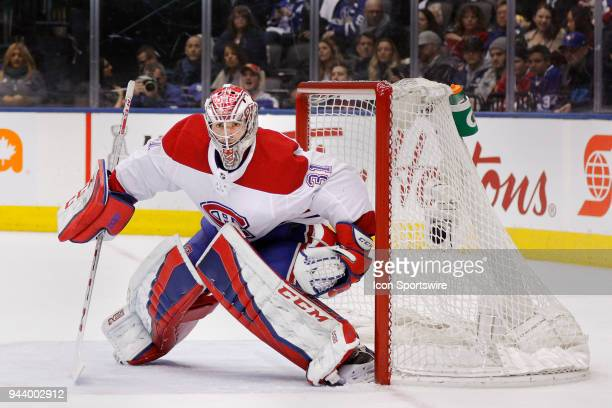 Montreal Canadiens Goalie Carey Price guards the net during the final NHL 2018 regularseason game between the Montreal Canadiens and the Toronto...