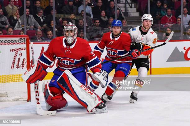 Montreal Canadiens Goalie Carey Price looks at the play facing him during the Calgary Flames versus the Montreal Canadiens game on December 7 at Bell...