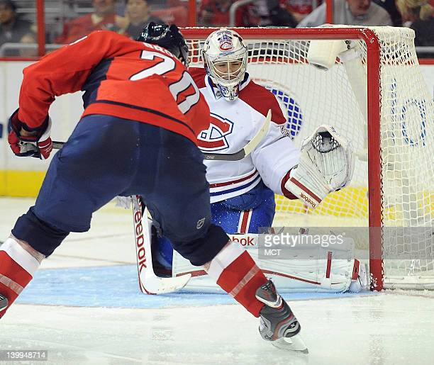 Montreal Canadiens goalie Carey Price makes a glove save against Washington Capitals left wing Troy Brouwer during the second period at the Verizon...