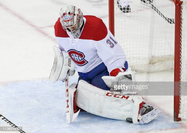 Montreal Canadiens Goalie Carey Price makes a save during the first period of the National Hockey League game between the Montreal Canadiens and the...