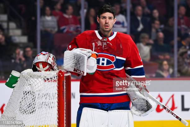 Montreal Canadiens goalie Carey Price pours water on himself during the Buffalo Sabres versus the Montreal Canadiens game on March 23 at Bell Centre...