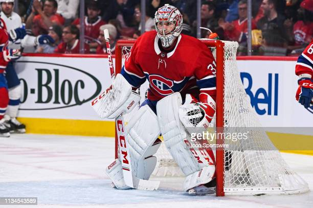 Montreal Canadiens goalie Carey Price tracks the play during the Tampa Bay Lightning versus the Montreal Canadiens game on April 02 at Bell Centre in...