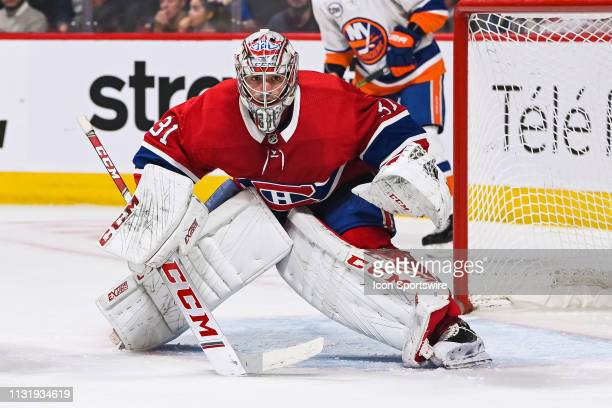 Montreal Canadiens goalie Carey Price tracks the play during the New York Islanders versus the Montreal Canadiens game on March 21 at Bell Centre in...
