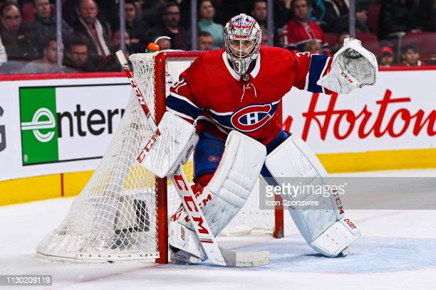 Montreal Canadiens goalie Carey Price tracks the play during the Detroit Red Wings versus the Montreal Canadiens game on March 12 at Bell Centre in...