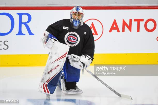 Montreal Canadiens goalie Cayden Primeau kneels on the ice during the Montreal Canadiens training camp on July 22 at Bell Sports Complex in Brossard...