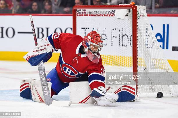 Montreal Canadiens goalie Cayden Primeau makes a save during the Colorado Avalanche versus the Montreal Canadiens game on December 05 at Bell Centre...