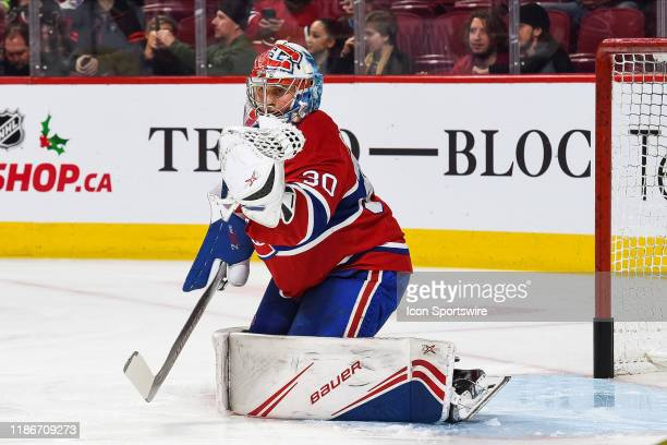 Montreal Canadiens goalie Cayden Primeau takes shots at warmup before the Colorado Avalanche versus the Montreal Canadiens game on December 05 at...