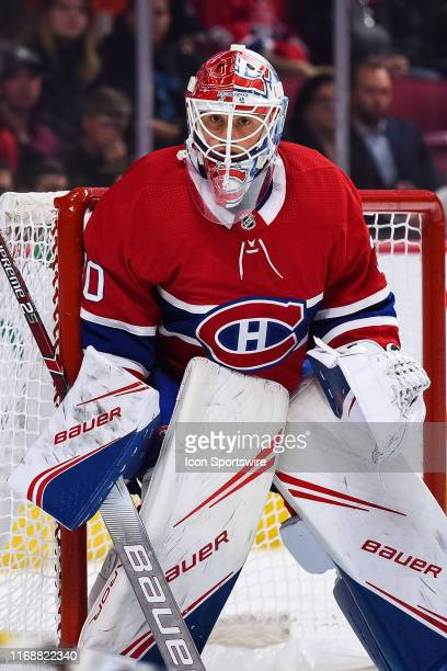 Montreal Canadiens goalie Cayden Primeau tracks the play during the New Jersey Devils versus the Montreal Canadiens preseason game on September 16 at...