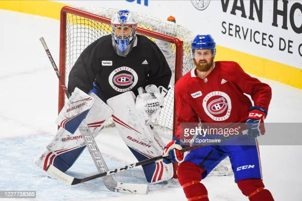 Montreal Canadiens goalie Cayden Primeau tracks the play during the Montreal Canadiens training camp on July 22 at Bell Sports Complex in Brossard QC