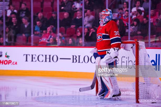 Montreal Canadiens goalie Cayden Primeau waits for the game to begin standing in front of his net during the Colorado Avalanche versus the Montreal...
