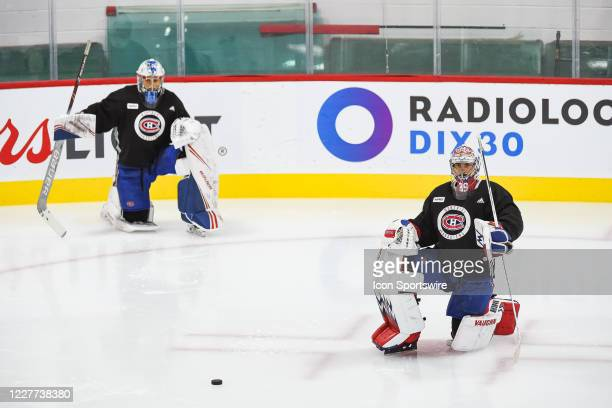 Montreal Canadiens goalie Charlie Lindgren kneels on the ice during the Montreal Canadiens training camp on July 22 at Bell Sports Complex in...