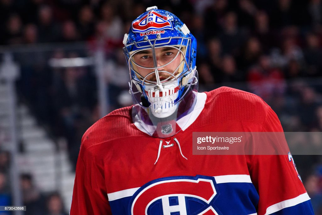 Montreal Canadiens goalie Charlie Lindgren (39) looks on during the first period of the NHL game between the Buffalo Sabres and the Montreal Canadiens on November 11, 2017, at the Bell Centre in Montreal, QC