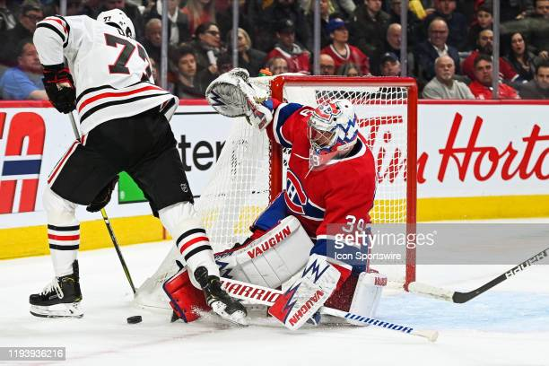 Montreal Canadiens goalie Charlie Lindgren stops a shot from Chicago Blackhawks center Kirby Dach during the Chicago Blackhawks versus the Montreal...