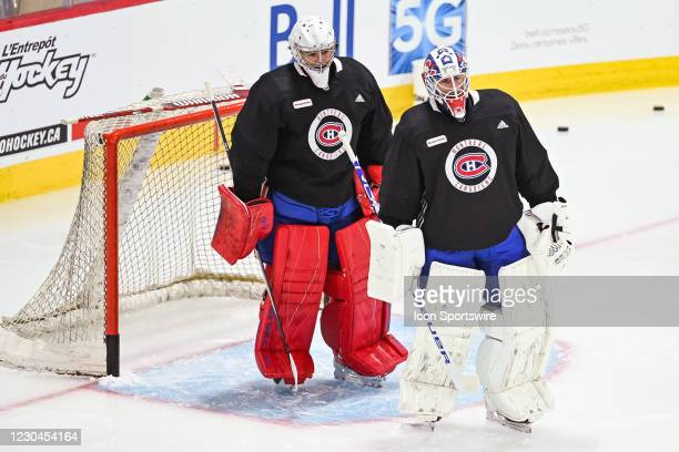 Montreal Canadiens goalie Jake Allen stands in front of Montreal Canadiens goalie Carey Price as part of a drill during the Montreal Canadiens...