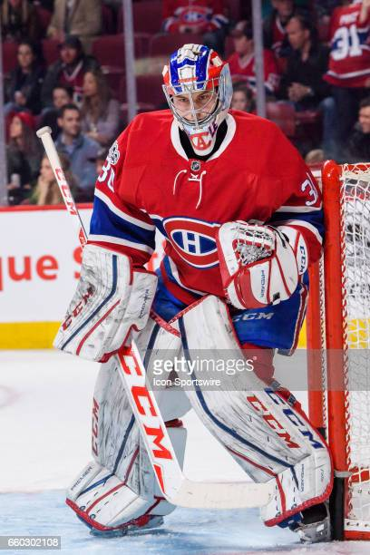 Montreal Canadiens goalie Zachary Fucale looks on during the warmup of the NHL regular season game between the Dallas Stars and the Montreal...