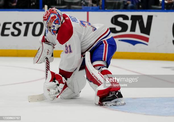 Montreal Canadiens goaltender Carey Price makes a glove save during Game 5 of the NHL Stanley Cup Finals Hockey match between the Tampa Bay Lightning...