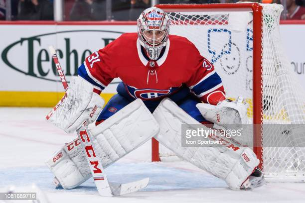 Montreal Canadiens goaltender Carey Price tends net during the second period of the NHL game between the Colorado Avalanches and the Montreal...