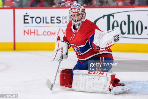 Montreal Canadiens goaltender Carey Price tends net during the warmup of the NHL game between the Vancouver Canucks and the Montreal Canadiens on...