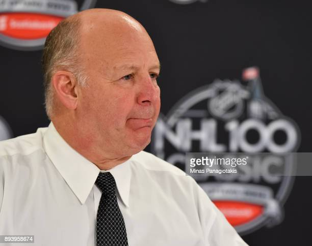 Montreal Canadiens head coach Claude Julien talks to the media after a 30 loss to the Ottawa Senators during the 2017 Scotiabank NHL100 Classic at...