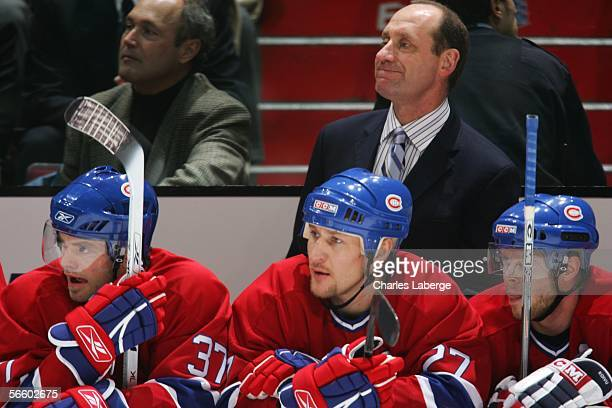 Montreal Canadiens interim head coach Bob Gainey looks on during the game against the Dallas Stars at the Bell Centre on January 16 2006 in Montreal...