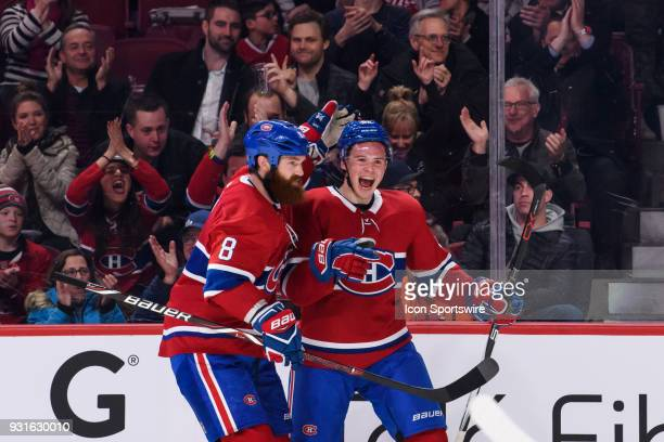 Montreal Canadiens left wing Artturi Lehkonen celebrates after scoring the first goal of the Montreal Canadiens during the first period of the NHL...