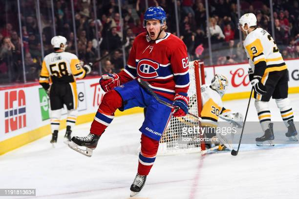 Montreal Canadiens left wing Artturi Lehkonen shows pride after scoring a goal during the Pittsburgh Penguins versus the Montreal Canadiens game on...