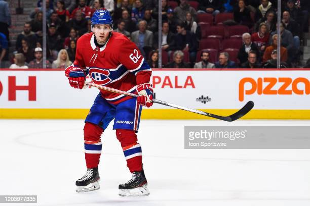 Montreal Canadiens left wing Artturi Lehkonen tracks the play during the New York Rangers versus the Montreal Canadiens game on February 27 at Bell...