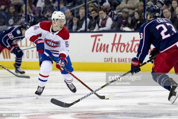 Montreal Canadiens left wing Charles Hudon controls the puck in the second period of a game between the Columbus Blue Jackets and the Montreal...
