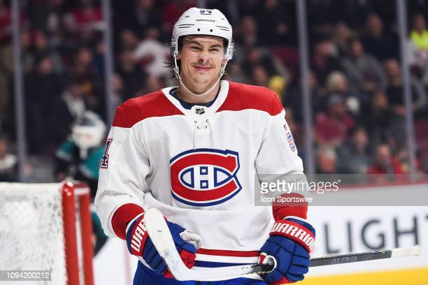 Montreal Canadiens left wing Charles Hudon does a funny face during the Anaheim Ducks versus the Montreal Canadiens game on February 05 at Bell...