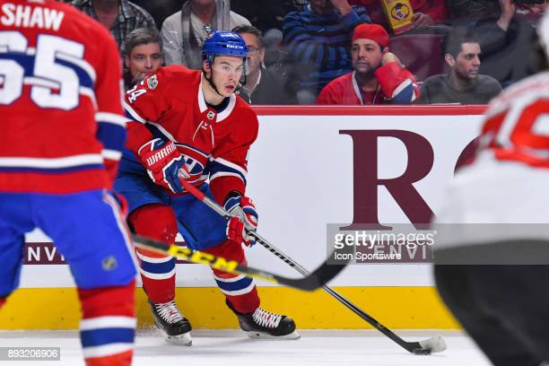 Montreal Canadiens Left Wing Charles Hudon looks for a pass target during the New Jersey Devils versus the Montreal Canadiens game on December 14 at...