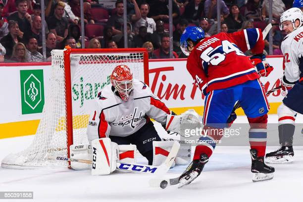 Montreal Canadiens left wing Charles Hudon shoots on Washington Capitals goalie Pheonix Copley during the Washington Capitals versus the Montreal...